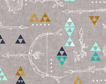 Wooded Arrows Turquoise Quilting Fabric. Fabric by the Yard. Cotton Knit Jersey Minky. Arrow Tribal Nursery Wood Gender Neutral Baby Kids