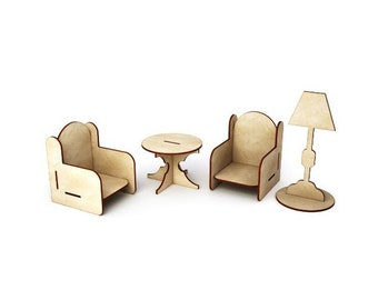4 pieces of furniture set to play with dolls and other toys .
