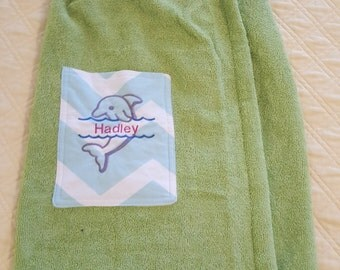 Personalized and Customized Girls' Towel Wrap with pocket for swim practice/meet, pool, beach and a gift