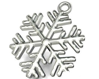 Sterling Silver Snowflake Charm 15x14mm For Jewellery Making