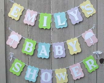 Pastel Baby Shower banner, Personalized baby shower banner sign, Baby shower decorations, Spring colors, Gender Reveal, Baby garland