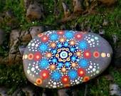Mandala Sea Stone, Mandala, Meditation Stone, Painted Rock, Beach Stones, Sea Stone, Beach Treasures, Smooth Stones, Dot Art, Beach Rock