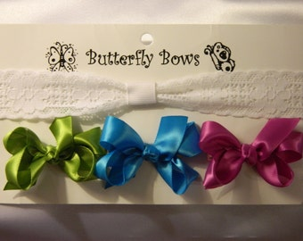 0-6 month add-on lace headband with 3 small satin bows