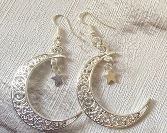 Crescent  Moon Earrings,  Moon Earrings, Silver Earrings, Boho Earrings, Half Moon Earrings, Cosmic Chic, Silver Crescent Moon.