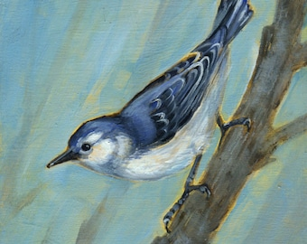 Nuthatch, Oil Painting, bird art, Nuthatch Art, Gift for Bird Watcher
