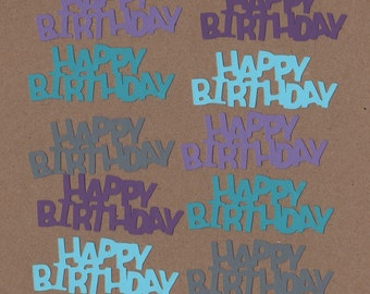 10 - 1 1/4 inch Tall Cool Waters Happy Birthday Die Cuts for Paper Crafts  Set #5002
