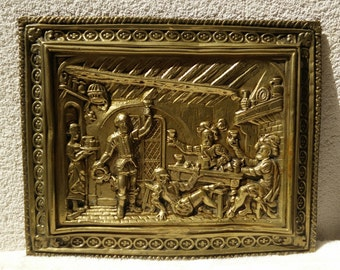 RARE Vintage Embossed Brass wall ornamental Plaque -1940's