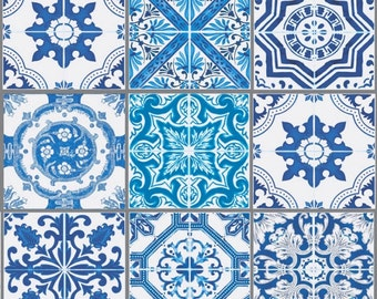Lisbon fabric - Fabric Azulejos - fabric squares - blue and white fabric - pattern azulejos portugal - 100% cotton fabric - 1/2 meter