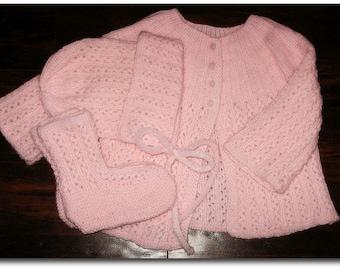 Soft Pink Baby Sweater Set