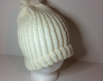 White Crochet Pom Pom Beanie Winter Hat
