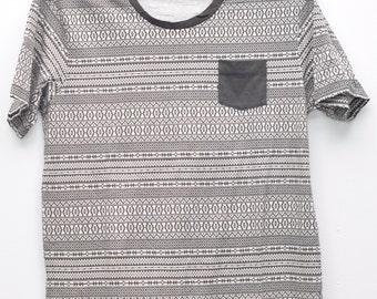 Vintage Stripe T shirts Black White Shirt Long Large Size