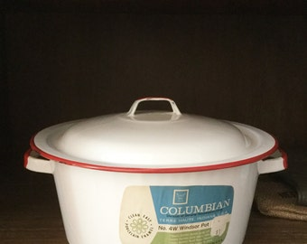Vintage COLUMBIAN Red and White Enamelware Pot