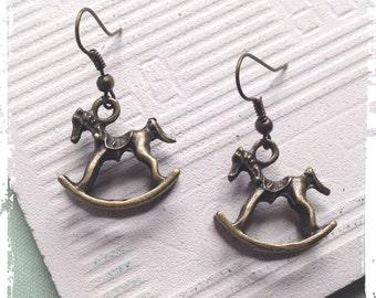 Bronze Rocking horse earrings, unique gift,