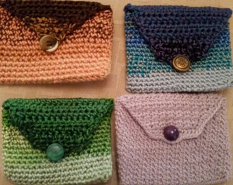 Crocheted credit card holder/coin purse
