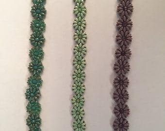 Hand Beaded Flower Bracelets