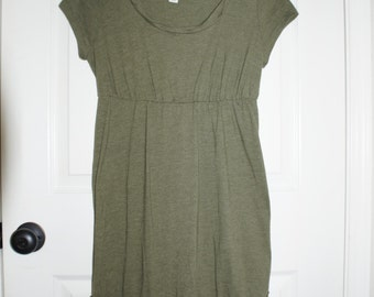 Army green dress with braided neck