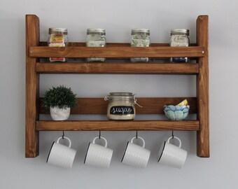 Coffee mug rack with storage // kitchen storage