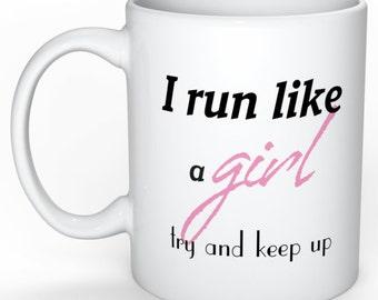 mug with running logo coffee tea cup 250ml   5k 10k half marathon short sleeve - eat sleep run repeat - cardio - race - girl 21.1 42.2