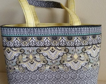 "Tote - Black, White & Yellow - 16 1/2/12"" x 11"" x 5"""