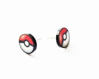 Pokemon Pokeball Stud Earrings - Hypoallergenic