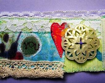 Fabric cuff bracelet, handmade, jewelry, sewn, lace, buttons, bracelet