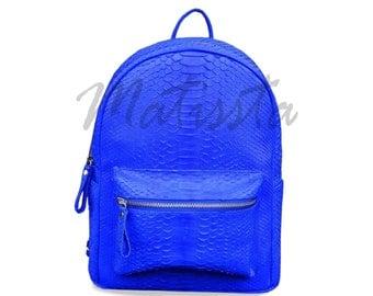 Python Bag, Blue Backpack, Python Backpack, Snakeskin Backpack, Fashion Backpack, Leather Backpack, Teen Backpacks, Unique Backpacks, Python