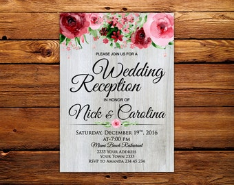 Wedding Reception Invitation. Rustic Wedding Reception Invitation. Wooden plank. Watercolor flowers.