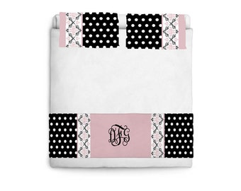 Damask Bed Runner, Bed Scarf, Damask & Polka Dots, Bedding.  Coordinate Pillows available