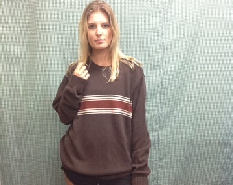 90s vintage Brown stripe sweater pullover