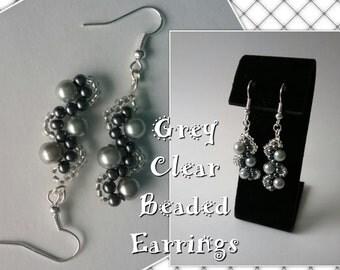 Grey Beaded Earrings