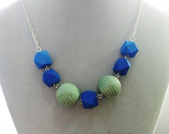 Gorgeous handmade wooden geometric necklace