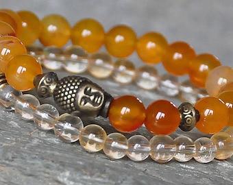Stackable Set of two Confidence, Wealth, Energy Carnelian Citrine Mala Gemstone Buddha Bracelet,Yoga Jewelry,Meditation Healing,Japa Mala