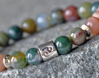 Good Luck Bracelet, Zodiac Birthstone Bracelet, Mantra, India Agate Mala Bracelet,Sunstone Happiness Gemstone wrap,Mantra Bracelet,Japa Mala