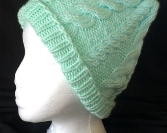 Mint Green Cable Knit Hat