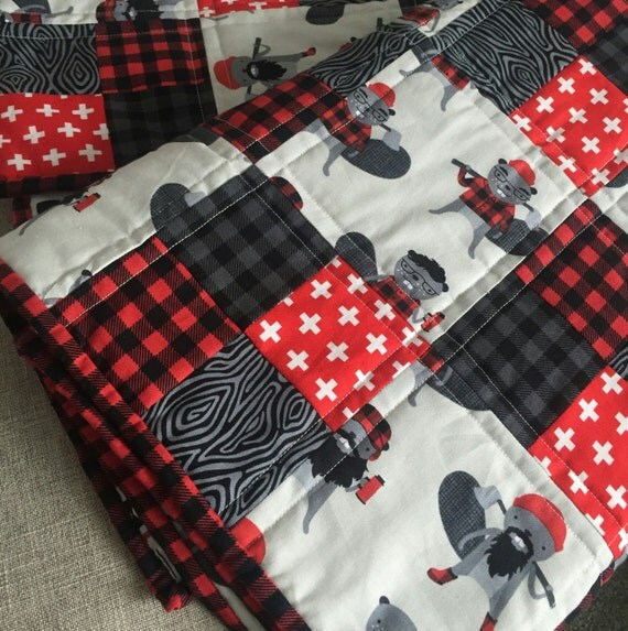 Plaid Baby Quilt: Woodland Baby Quilt Rustic Baby Bedding Buffalo Plaid