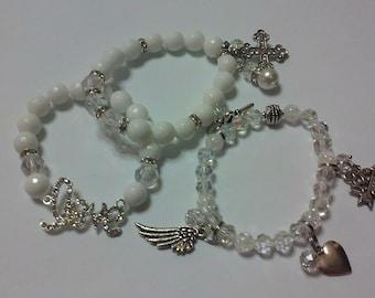Jade white bracelets set