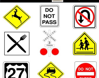 Road Signs Clip Art - PNG Images - INSTANT DOWNLOAD