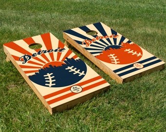 Detroit Baseball Cornhole Board Set