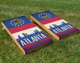 Atlanta State Flag Skyline Cornhole Board Set