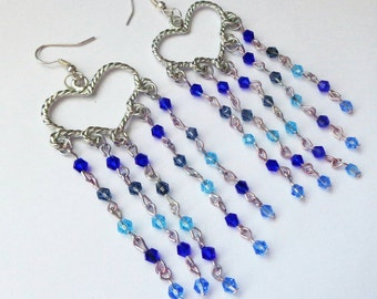 Blue heart chandelier earrings