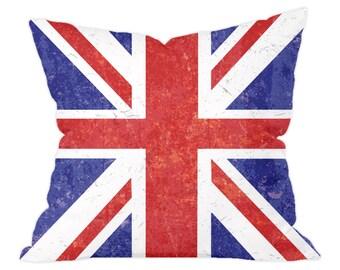 Union Jack Grunge Style British Flag Cushion 40x40cm