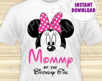 Minnie Mouse Mom of the Birthday Girl Iron On. Minnie Mouse Birthday Iron On Transfer. Minnie Mouse Birthday Shirt. DIGITAL FILE.