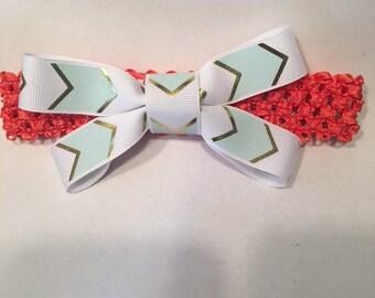 Baby/Toddler Mint Chevron Headband