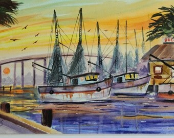 Watercolor of shrimp boats heading to sea 16'' x 20'' matted