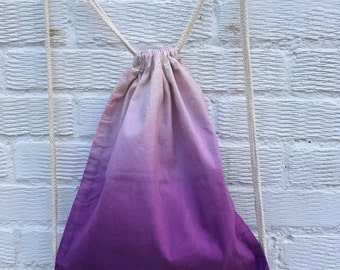 Purple ombre hand dyed bag