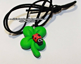 Necklace in Fimo ' Ladybug on clover '