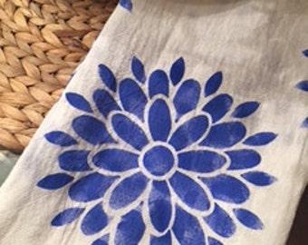 Hand stenciled tea towel