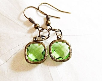 Pale Green Faceted Glass Gem Earrings