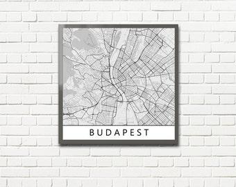 Minimalist Map Print of Budapest, Hungary (fits square frame)