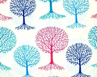 Multicolor Tree shape Block Print Cotton Fabric by the Yard